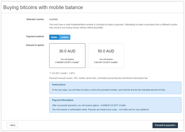 Buy BTC with mobile balance