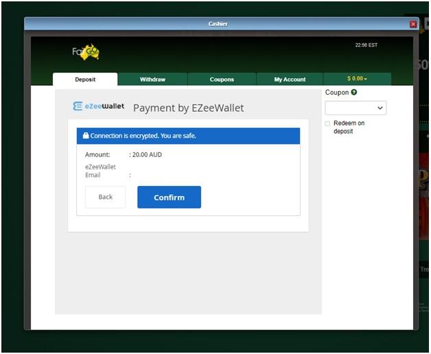 Ezee wallet fair go deposits confirm
