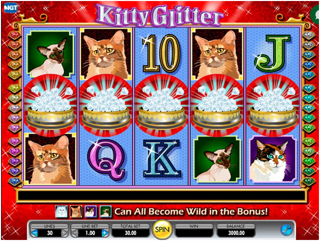 Kitty Glitter pokies- scatter and the wild