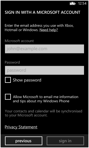 Sign with microsoft account